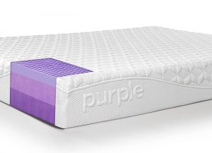 Purple mattress with logo showing